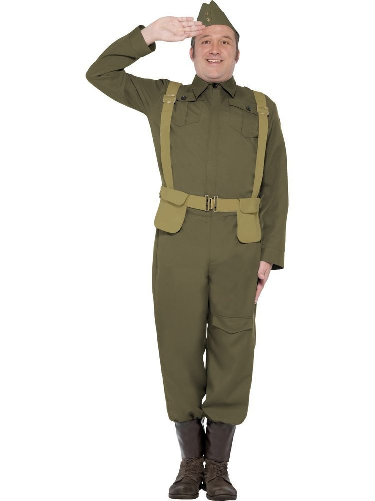 Adult Mens 1940s German Army Soldier Uniform Costume Military WW2 Outfit NEW