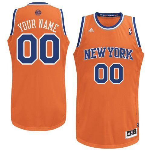 Customized Durable Polyester Swingman New York Knicks NBA Orange Adidas  Alternate Men Jerseys