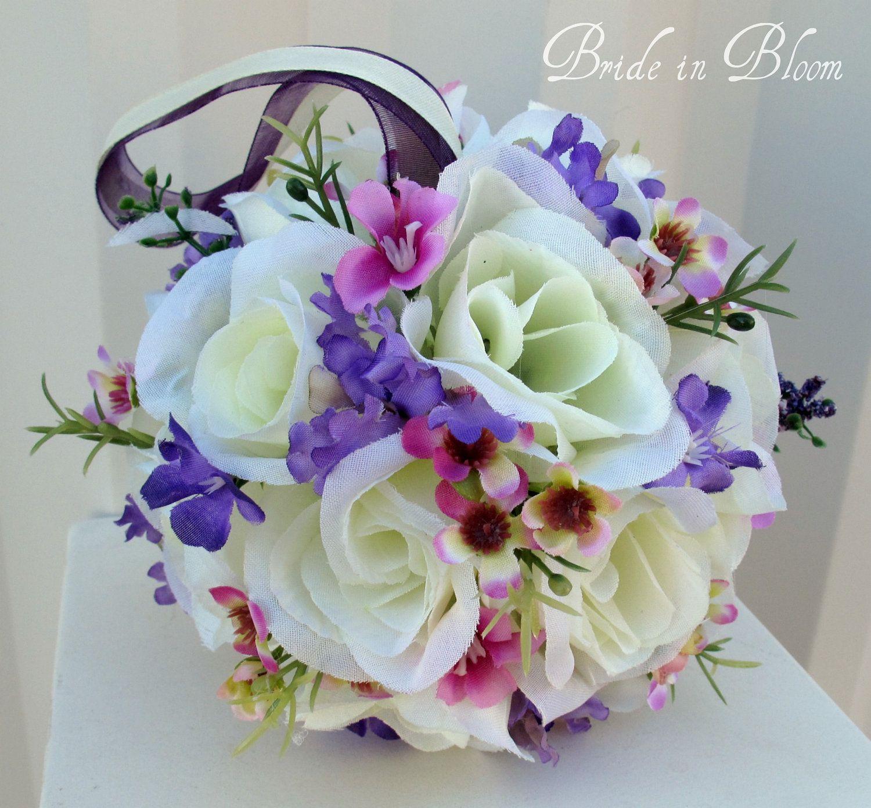Ivory Flower Ball: Pomander Wedding Flower Ball Ivory Purple Lavender Flower