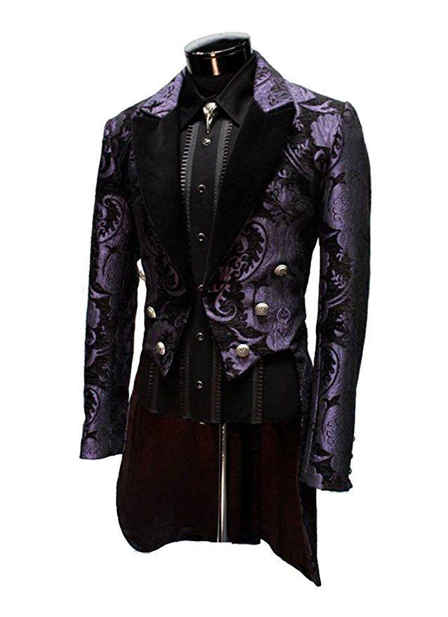 fa3cbe6e0b14 Shrine Gothic Victorian Steampunk Purple Black Tapestry Versailles Jacket  Coat (M)