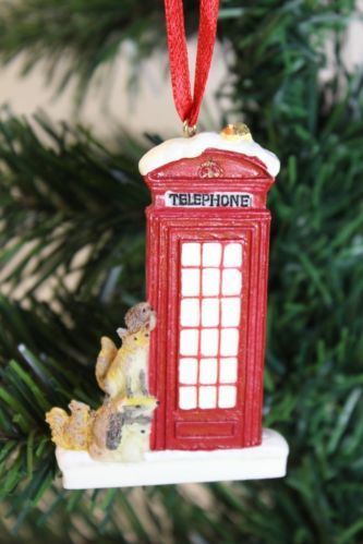 2 X Traditional British Red Telephone Box Christmas Tree Hanging