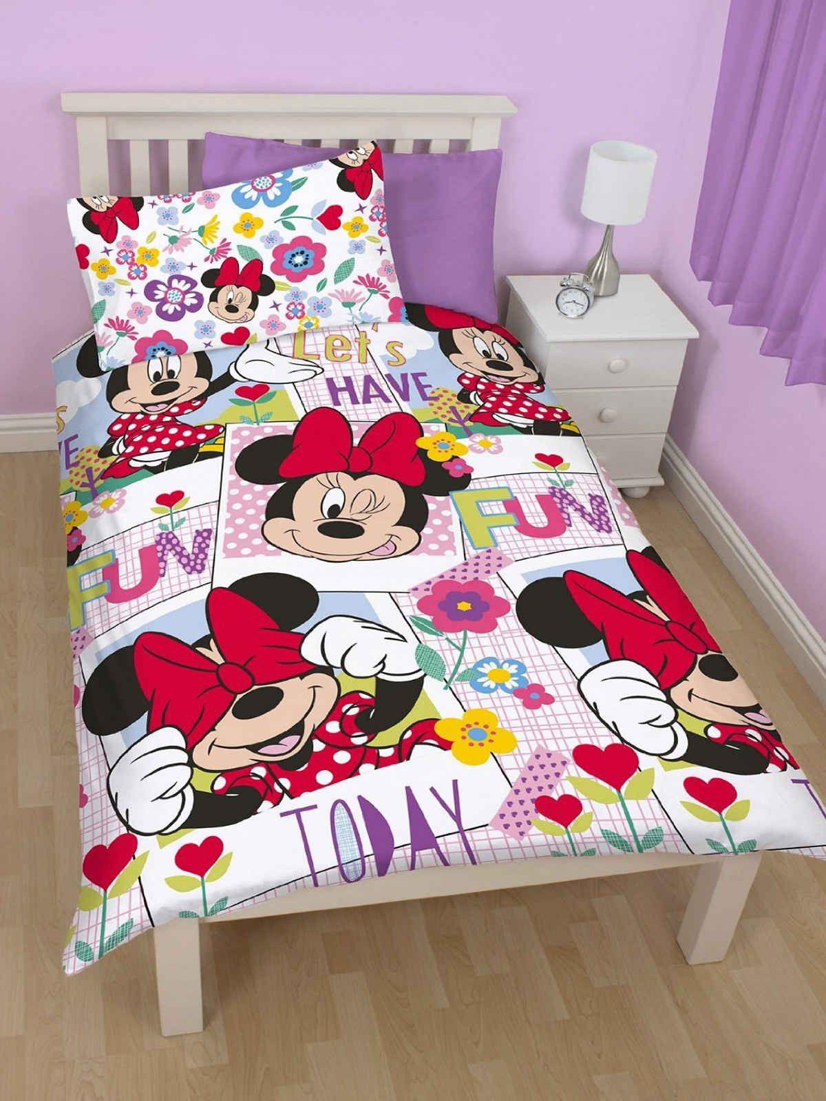 Kids Disney Duvet Cover Mickey Minnie Peppa Childrens Single Bedding Set Bedroom