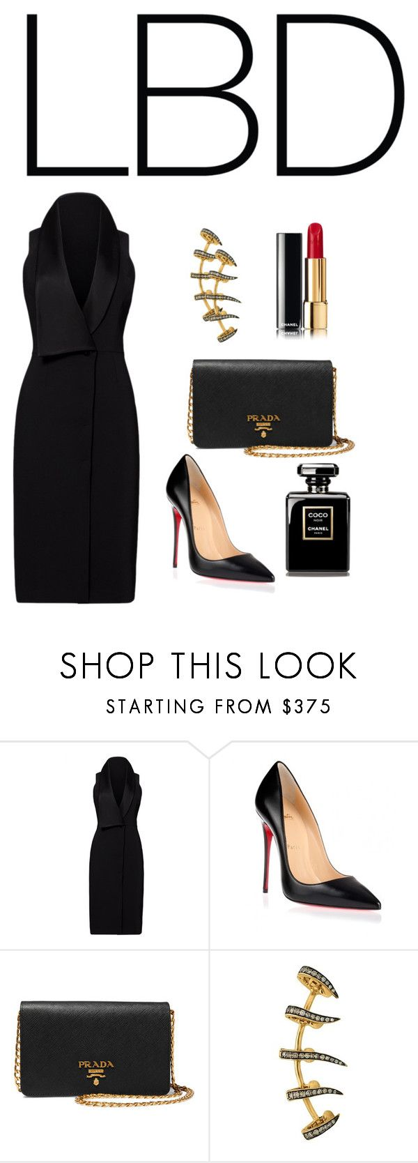 """""""LBD- A French Accent"""" by rbcashyu ❤ liked on Polyvore featuring Halston Heritage, Christian Louboutin, Prada and Christina Debs"""