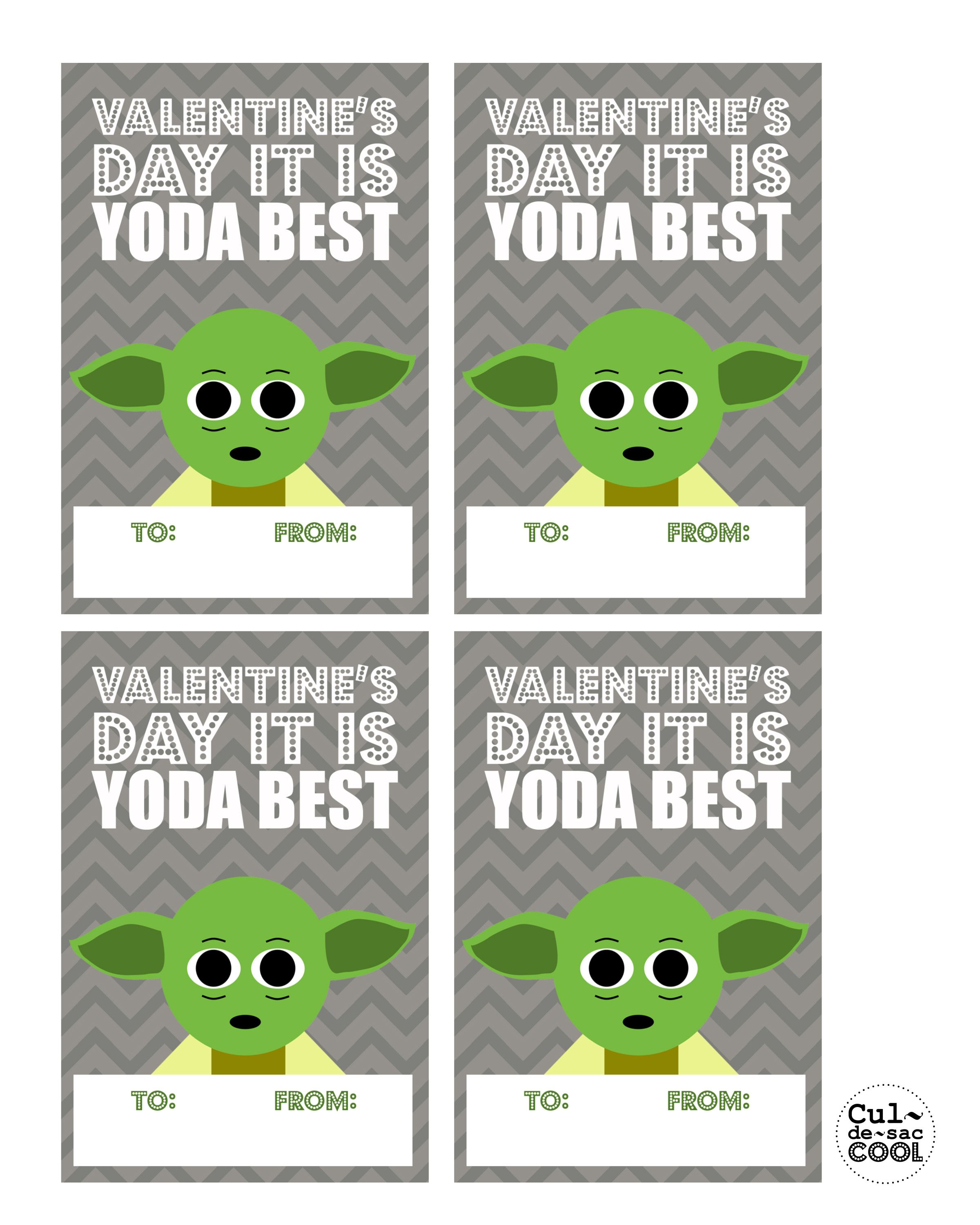 DIY PRINTABLE COOL WARS VALENTINE'S DAY CARDS--'YODA BEST ...