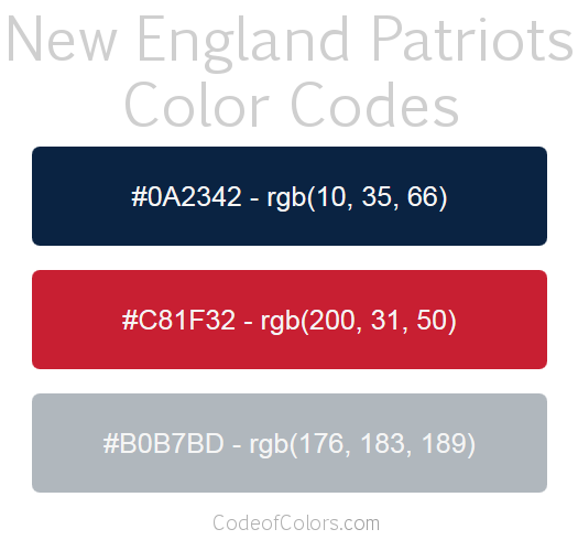 new england patriots colors hex and rgb color codes