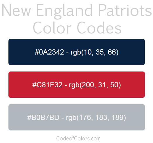 New England Patriots Team Color Codes New England Patriots Colors Nfl Team Colors Color Coding