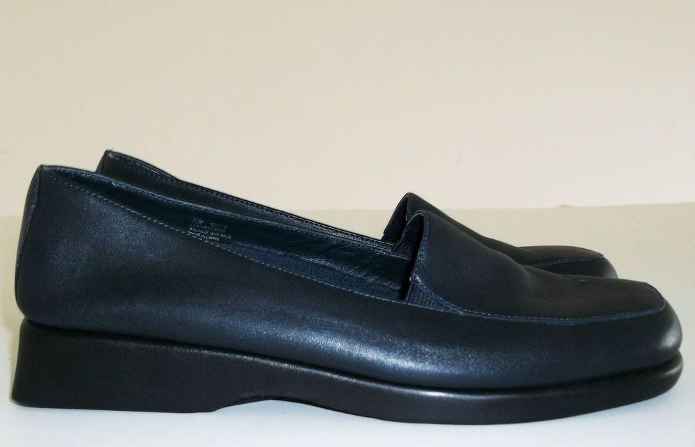 "Aerology by Aerosoles Navy Blue Leather ""Silly"" Loafers-Womens-Sz 7.5 M #AerologybyAerology #LoafersMoccasins"
