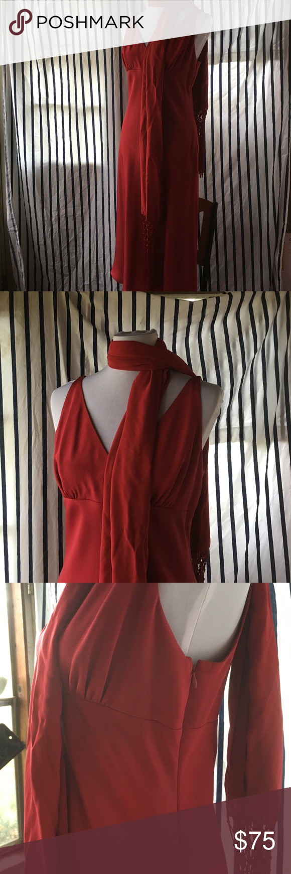 Silk length dress with matching scarf red silk dress red silk