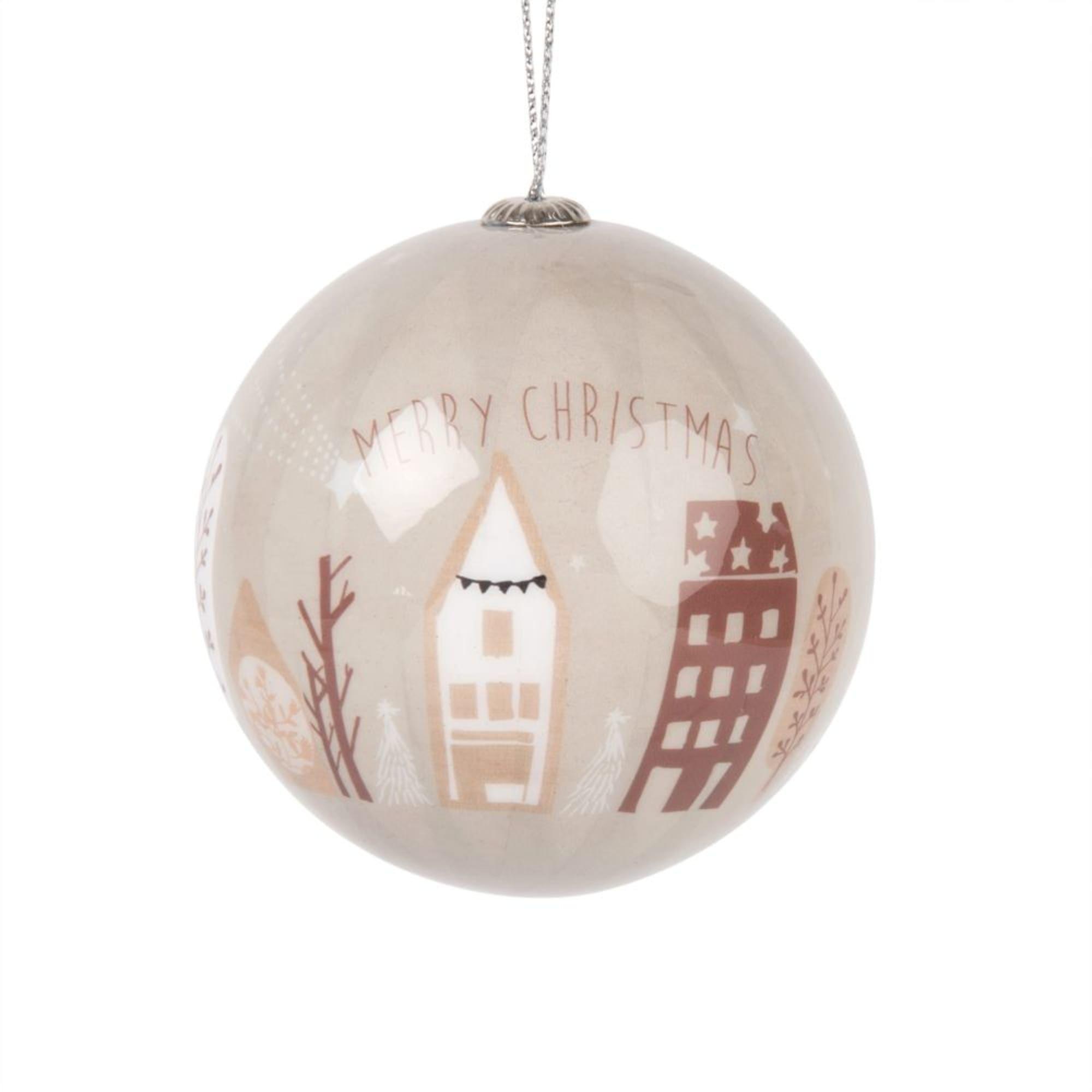 Boule de Noël en papier imprimé marron, beige et blanc #bouledenoel