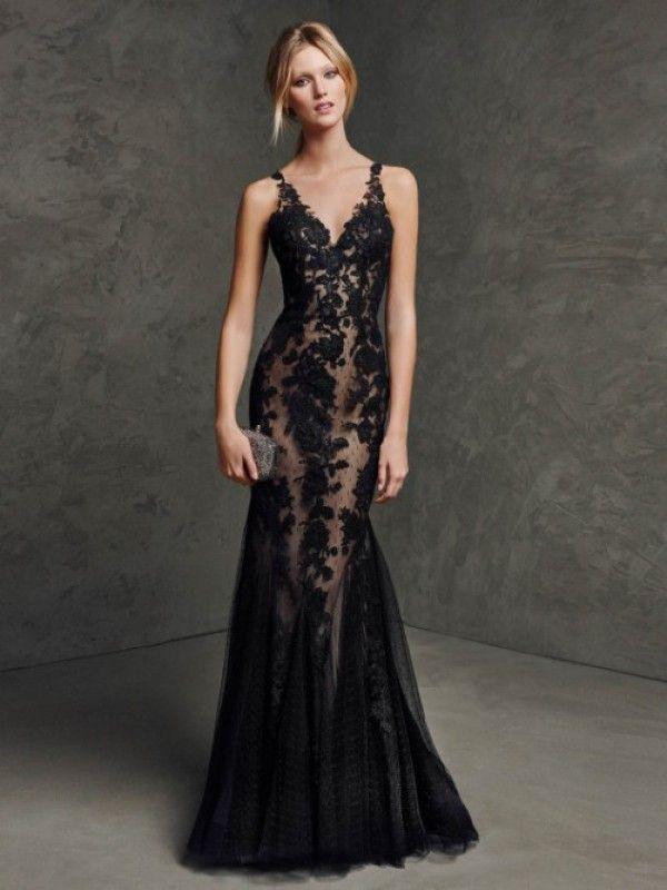 Schwarzes langes kleid mit v ausschnitt