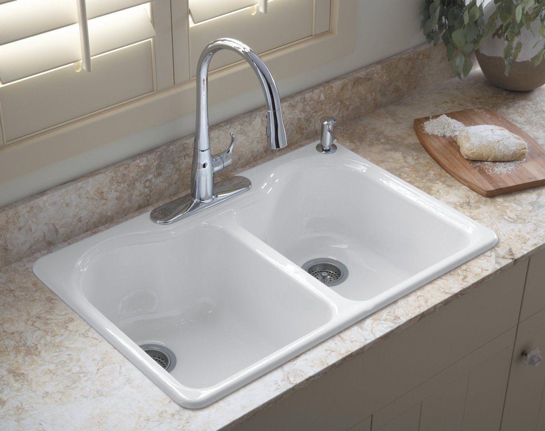 Kohler Hartland Double Equal Basin Top Mount Cast Iron Sink   BuyMBS ...