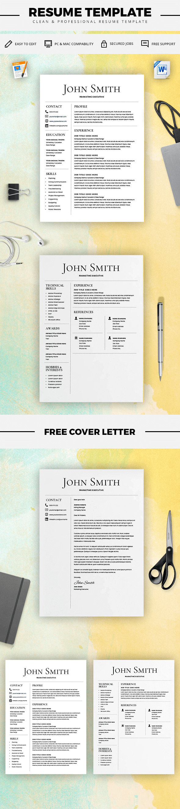 Resume Template  Cv Template With Cover Letter  Ms Word On Mac