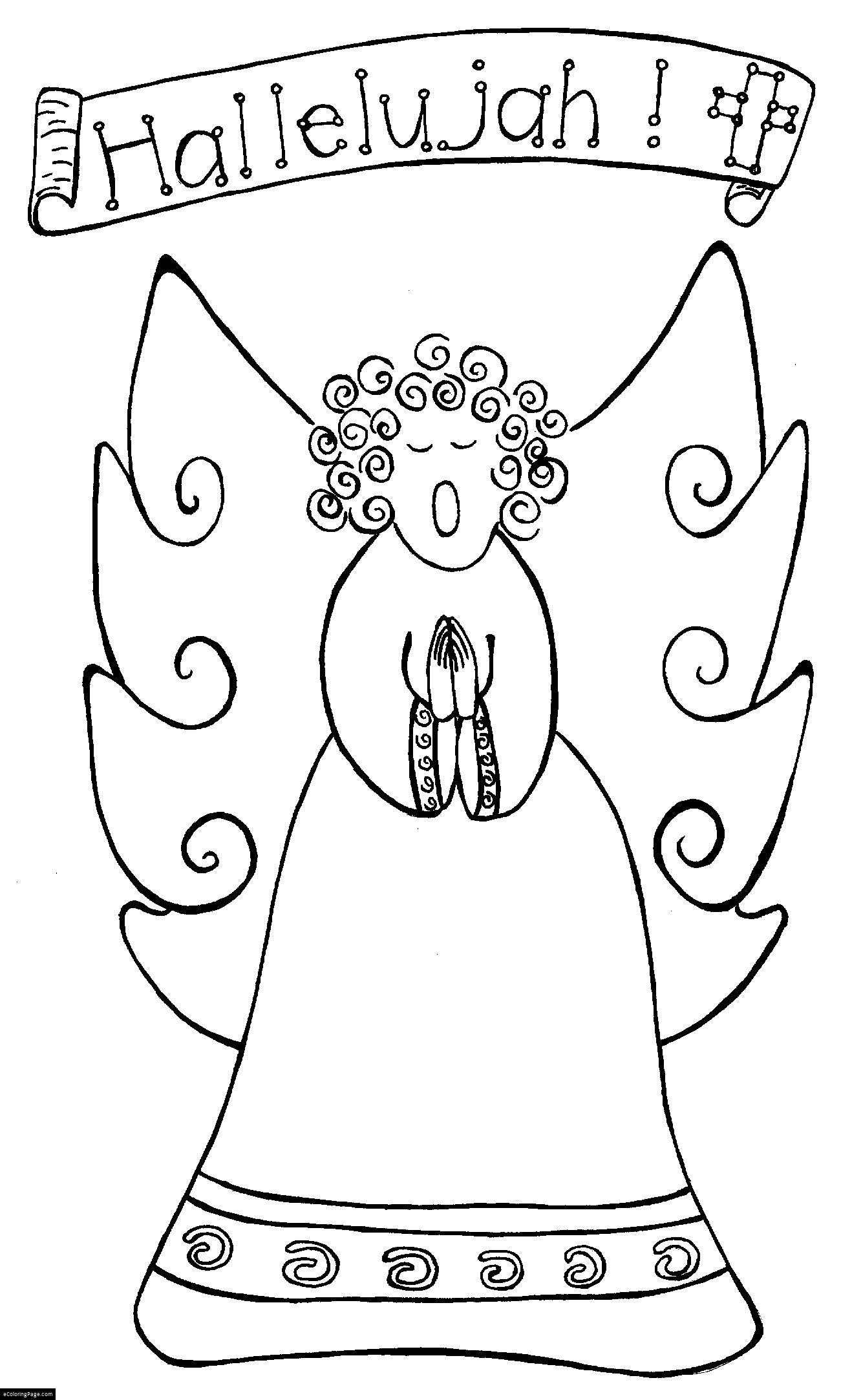 Angel Singing Hallelujah Coloring Page For Kids Printable Angel