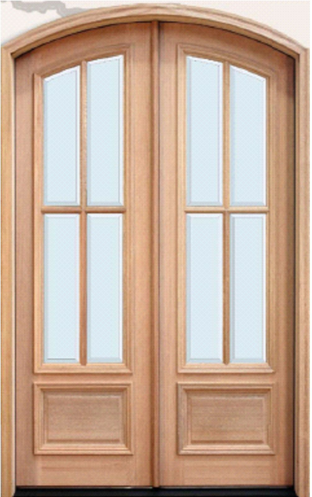Twin Mahogany Arched 4 Lite Panel Bottom Wood Doors Front Door Company Doors