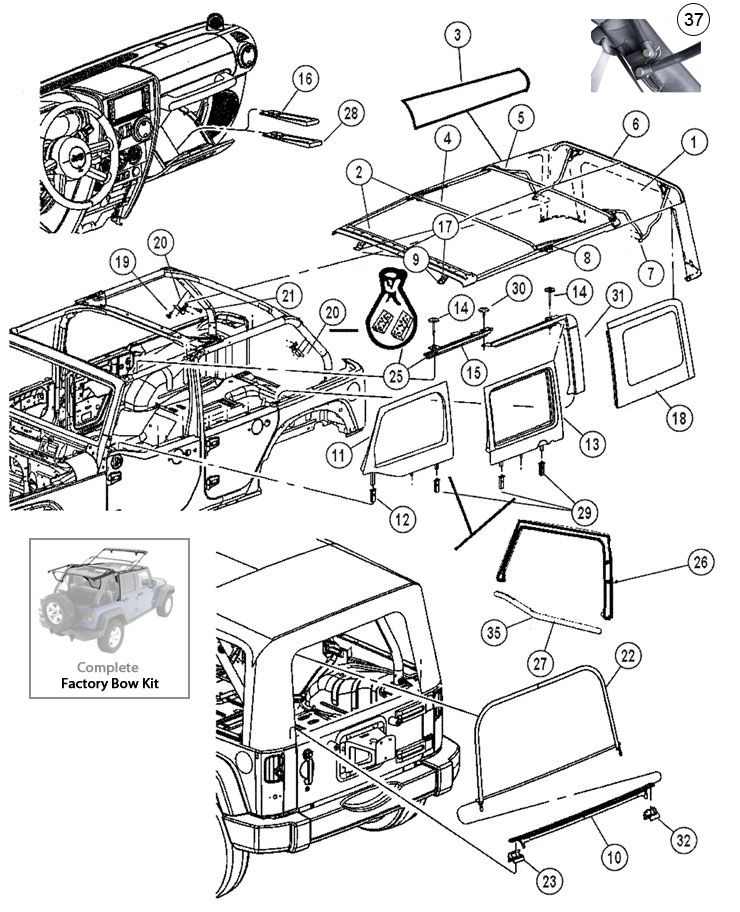 Interactive Diagram Jeep Wrangler Jk 4 Door Soft Top Hardware