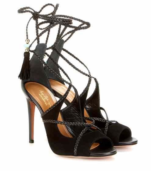 Hero 105 suede and leather lace-up sandals | Poppy Delevingne x Aquazzura