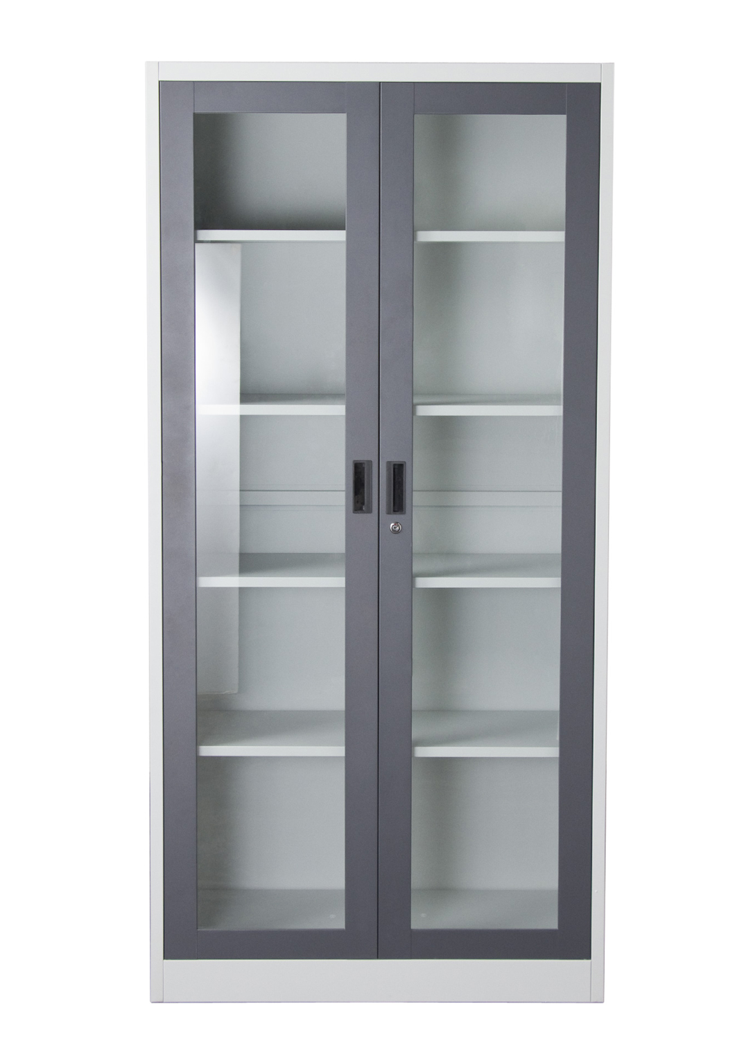 Nova Qwik 2 Door 5 Shelf Bookcase With Tempered Glass Door