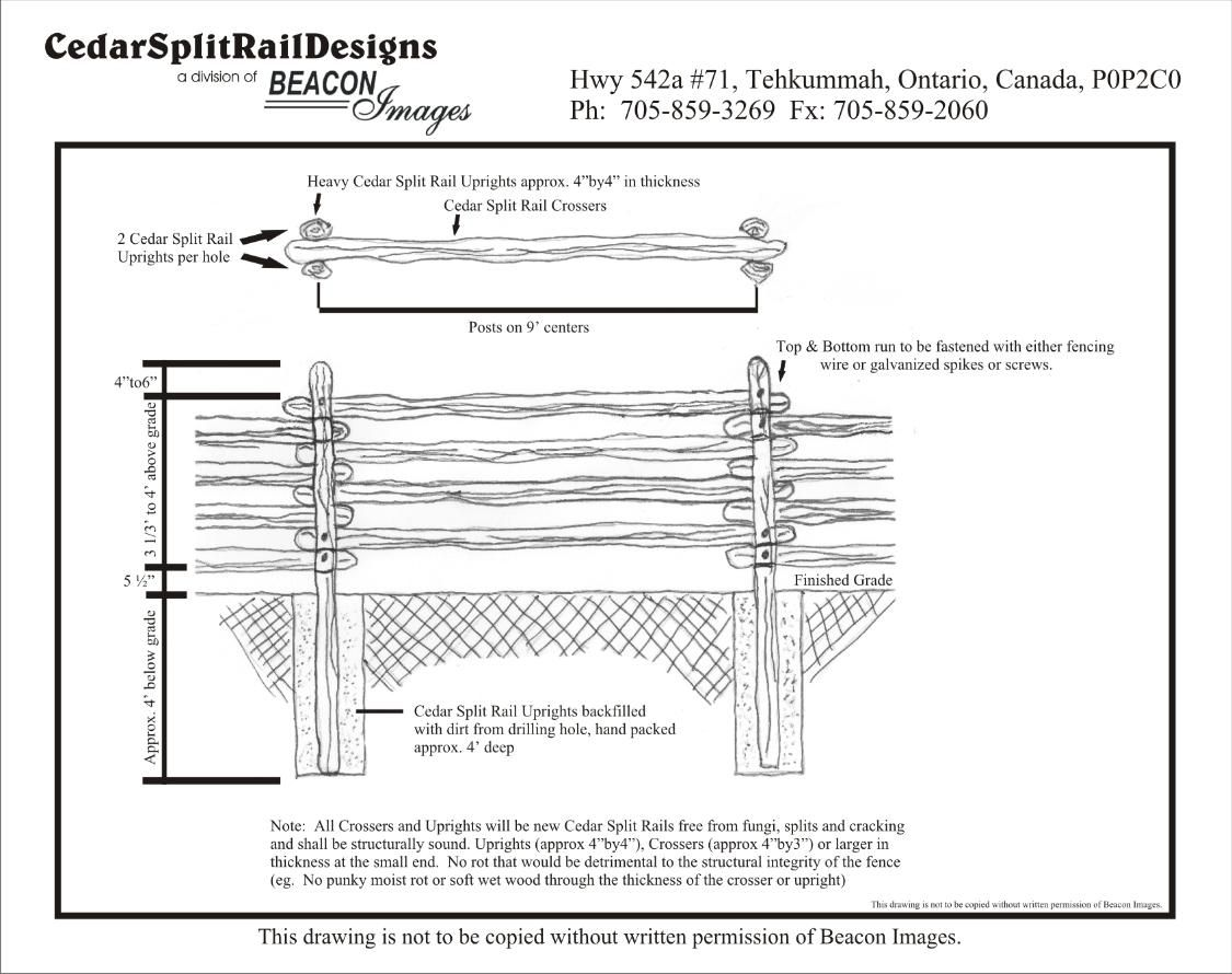 Northern White Cedar Split Rail Fence Installation