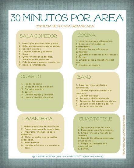 Imprimible Lista De Tareas 30 Minutos Por Area Calendario De