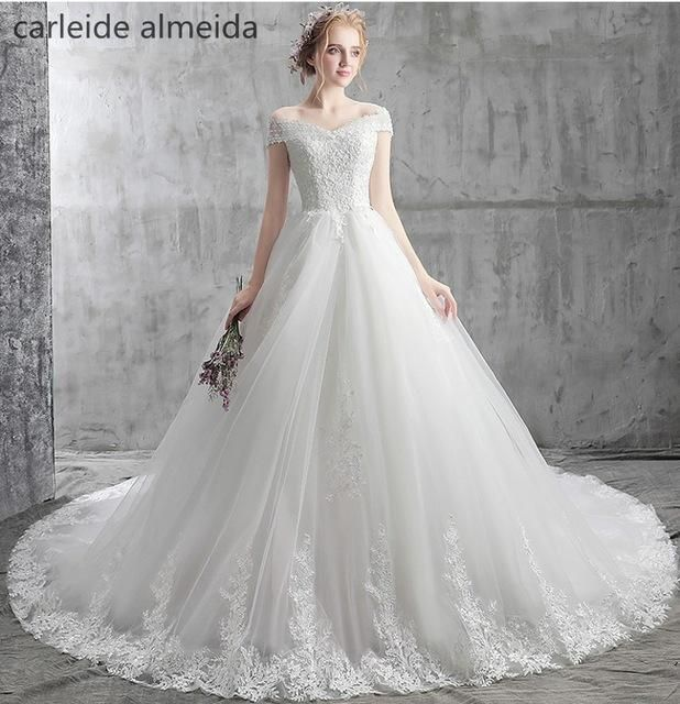 f36bb0e12c3 Vestido de Noiva Boat Neck Ball Gown Royal Tail Luxury Wedding Dresses with  Beads  Lace Appliques