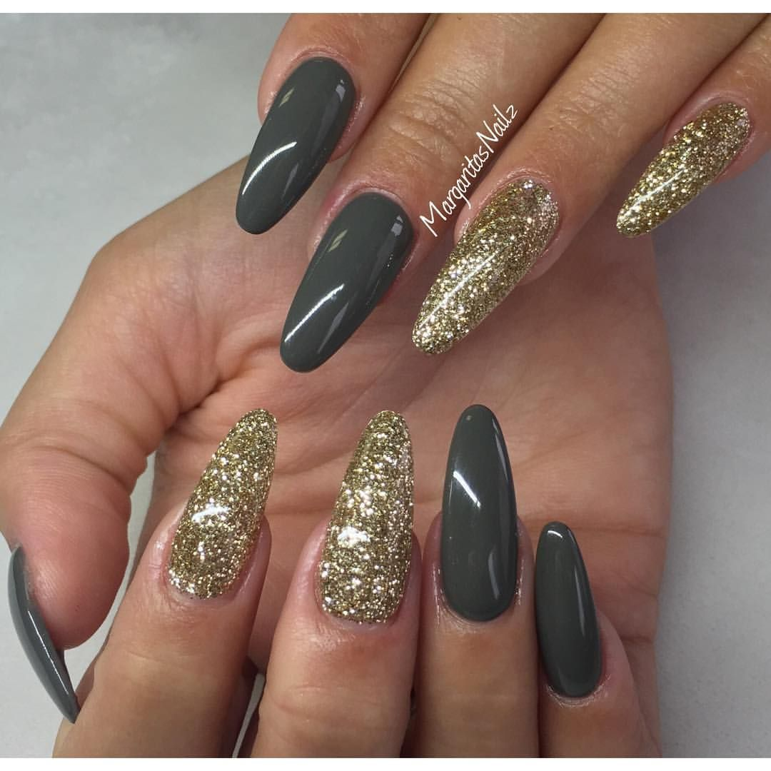 Olive Grey And Gold Glitter Nails Margaritasnailz Gray
