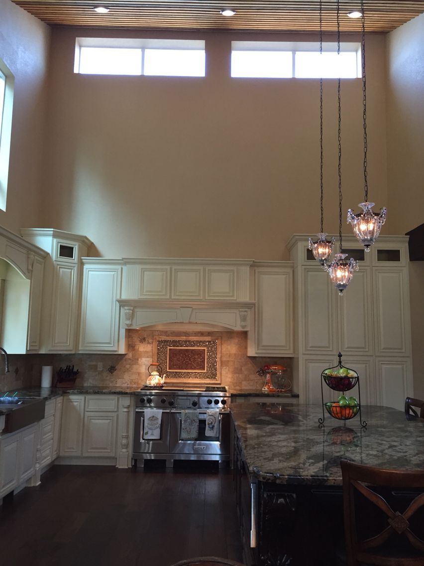Custom Kitchen high ceilings medallion backsplash cream ...