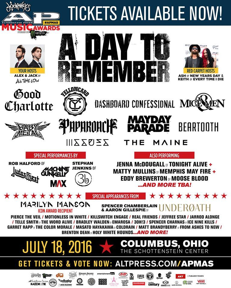 Here S Who S Coming To The Apmas Will You Be There Ap Music Awards Dashboard Confessional Rob Halford
