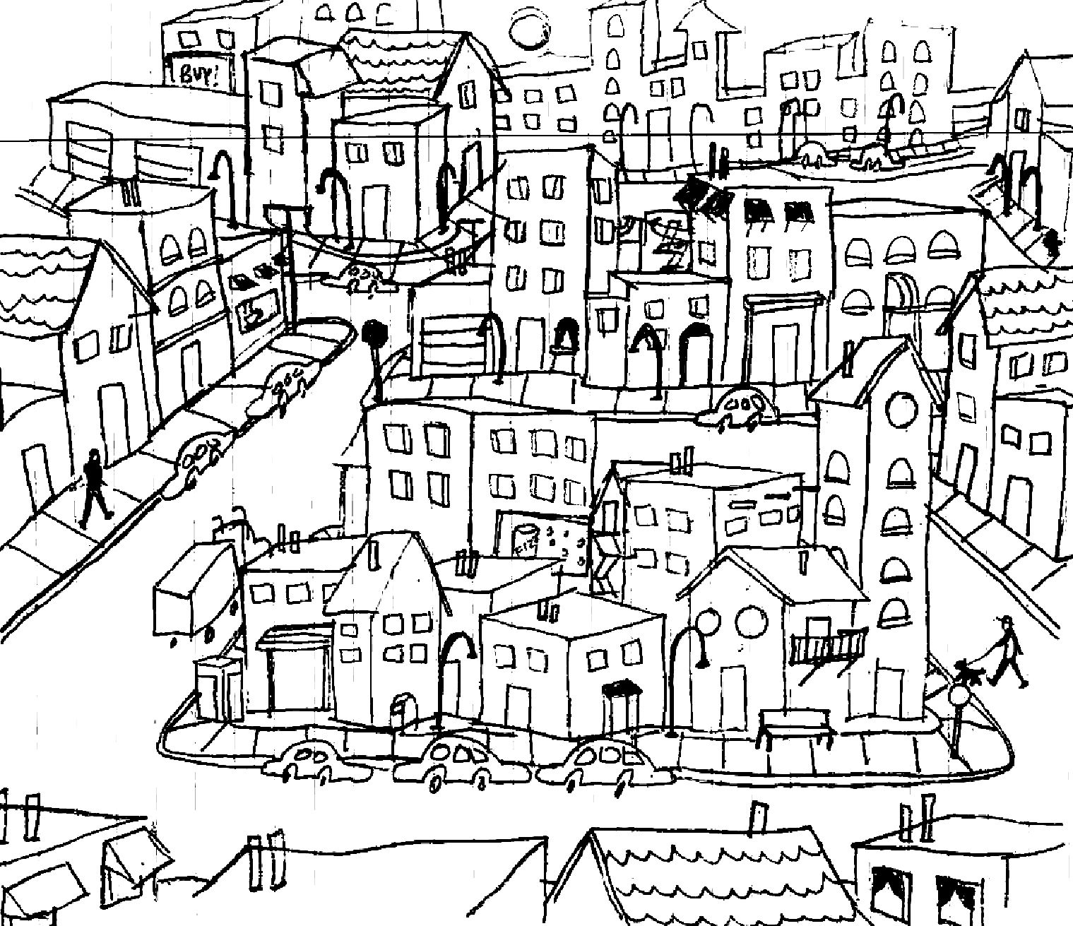 City Picture That Could Be From A Kid S Book Would Make A Good Coloring Book Page Tiny Town City Life Coloring Pages Line Drawing Steampunk City