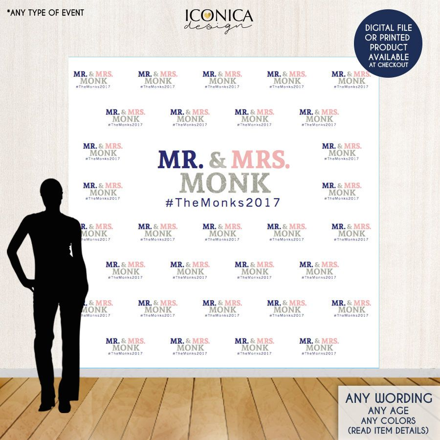 Photo Booth Backdrop Custom Step And Repeat Engagement Party Banner Wedding