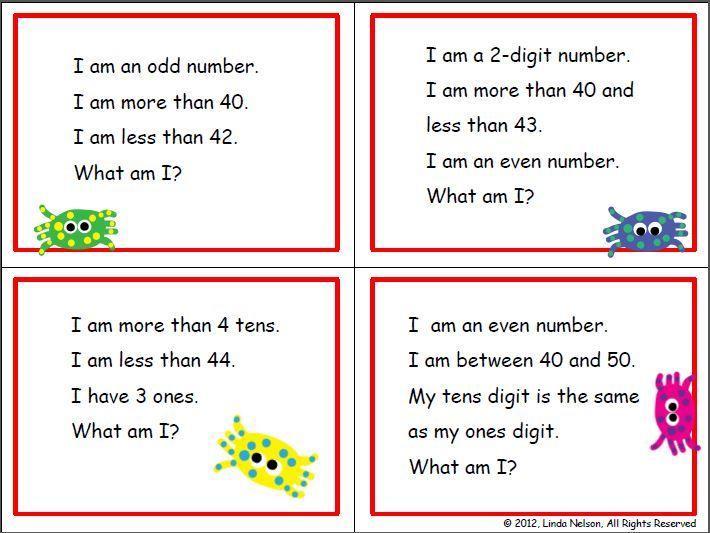 First And Second Grade Math  Riddle Cards For The  Chart Set