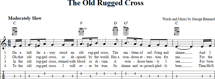 The Old Rugged Cross Sheet Music For Mandolin With Chords Lyrics