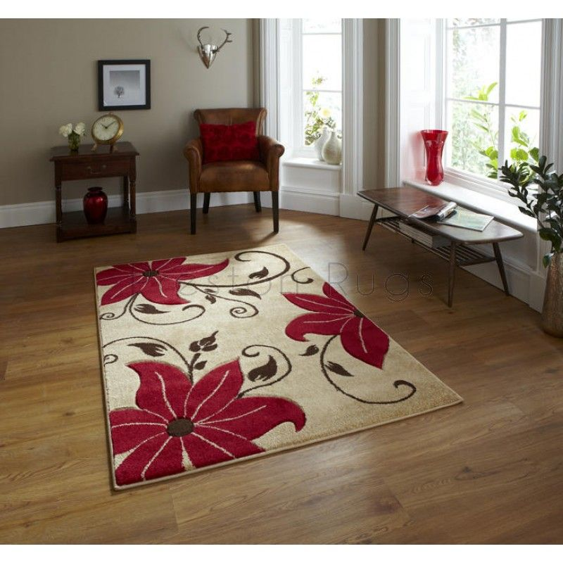Verona Flower Rug Oc15 Beige Red