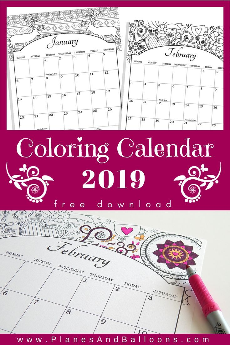 coloring calendar 2019 us holidays included free download best of mommy bloggers pinterest calendar printables and coloring pages