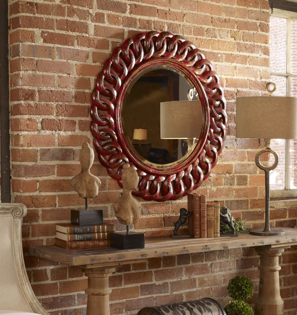 Merveilleux Sassia Red Round Mirror   Premier Home Decor