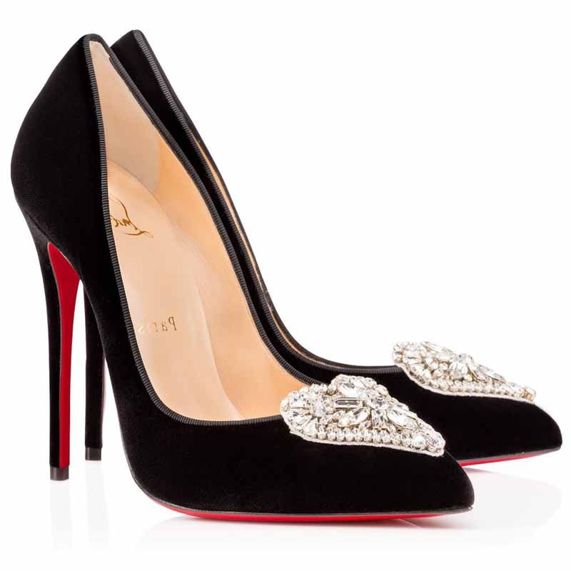 01ac2620d7e1 Christian Louboutin Cristacora 120mm Suede Pointed Toe Pumps Black Crystal