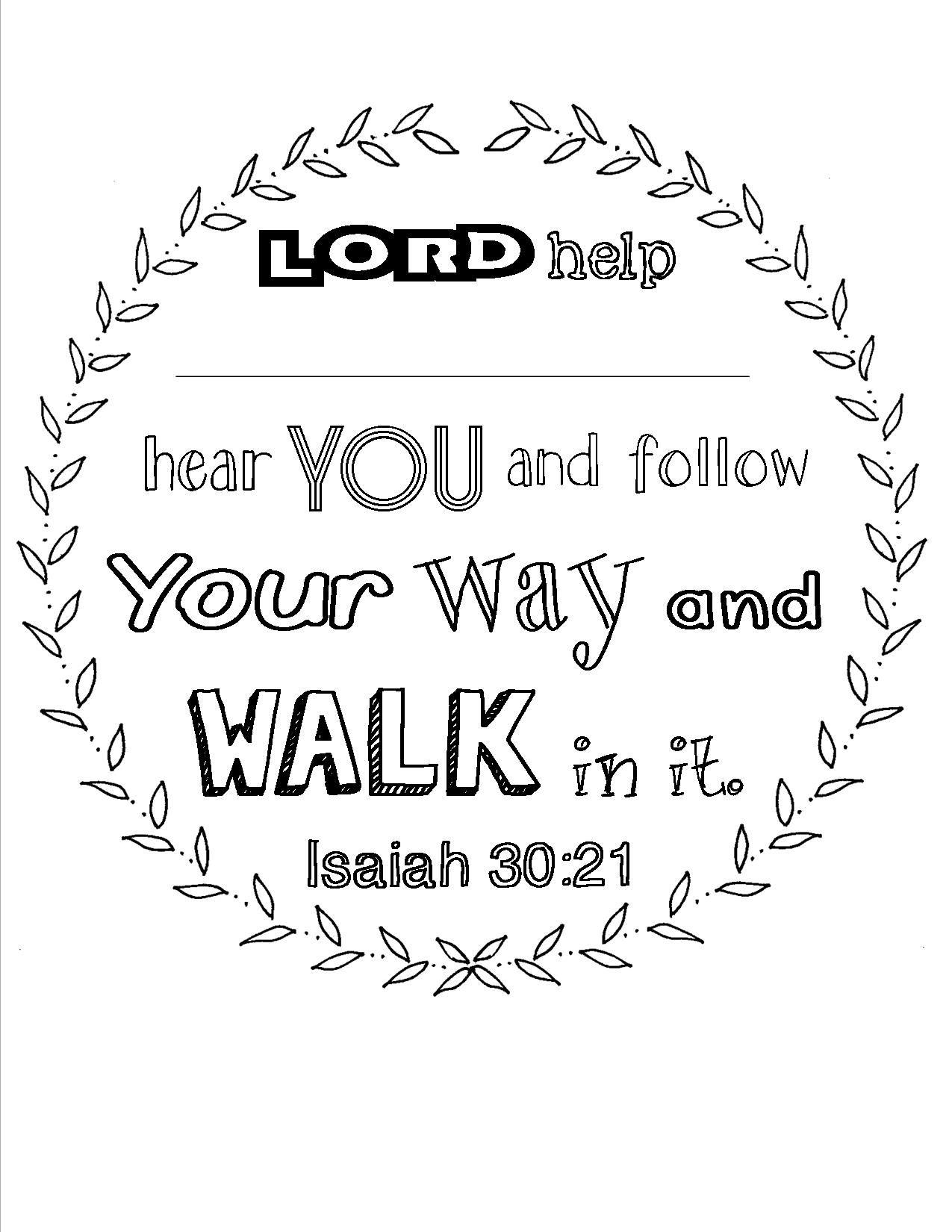 scripture coloring page Isaiah 30:21. Place for personalization