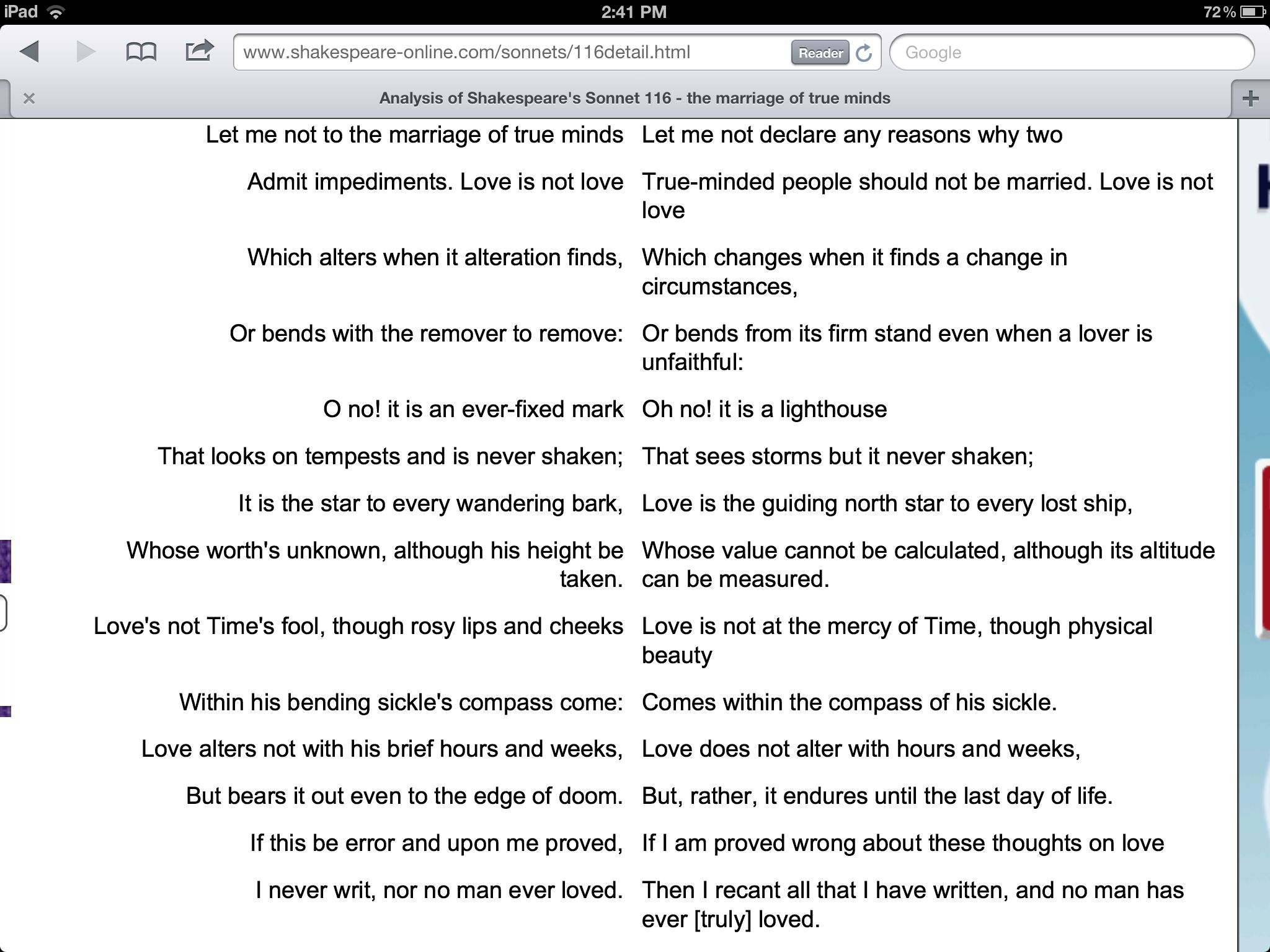 Sonnet 116 And Paraphrase 3 Http Www Shakespeare Online Com 116detail Html Sonnets How To