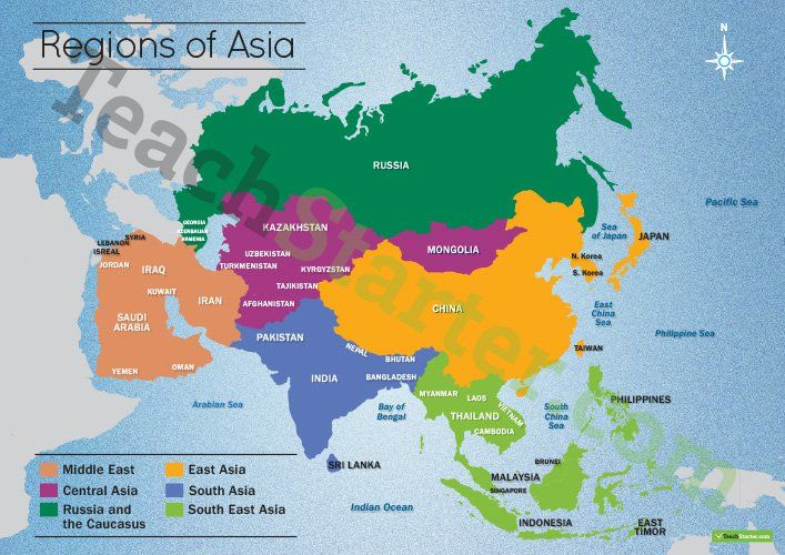 Map Of Asia Resources.Map Of The Regions Of Asia Teaching Resource Teaching Geography