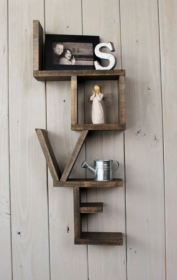 Photo of Rustic love shelf – handmade shelf – wood shelf – Wood shelving – home decor – r…