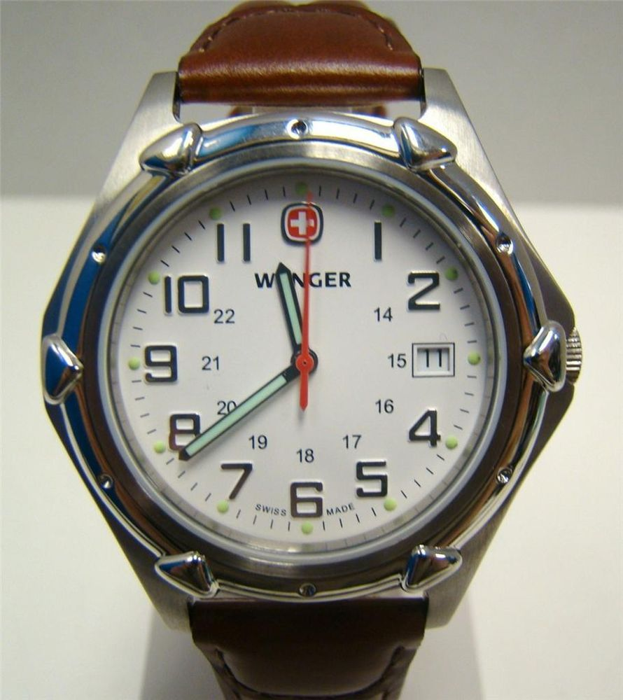 0a50bbd6508 NEW WENGER WATCH SWISS STANDARD ISSUE XL WHITE DIAL BROWN LEATHER 7311X  MSRP 195  WENGER