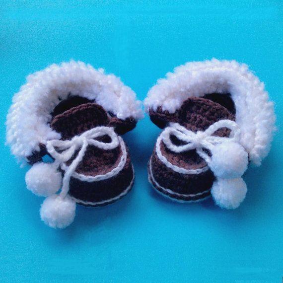 Modelo del ganchillo botines del bebé: Mocasines de invierno para ...