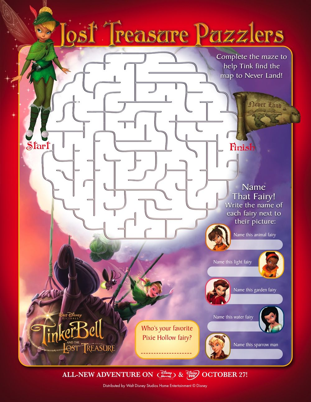 Tinker Bell and the Lost Treasure Maze Printables for