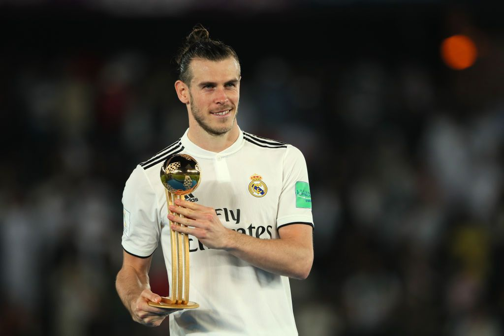 Gareth Bale Of Real Madrid Poses With The Fifa Club World Cup Golden Club World Cup Gareth Bale Real Madrid