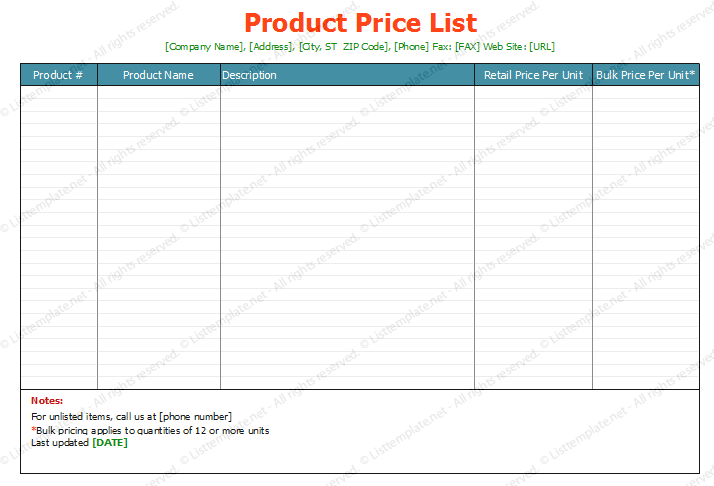 Product Price List Template Standard Format  List Templates