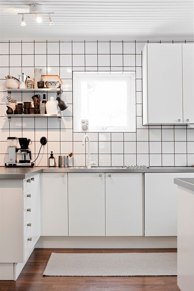White Scandinavian Kitchen With An Touch Tiles Black Grout