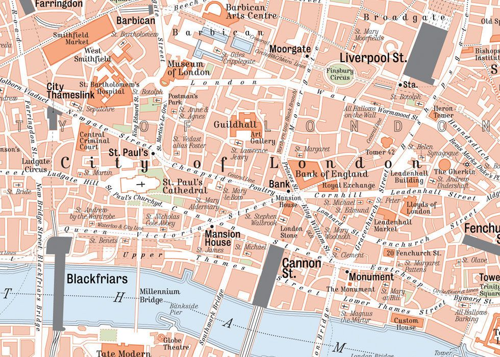 Map Of Central London On Behance Central London Retro Style Map - London map with cities