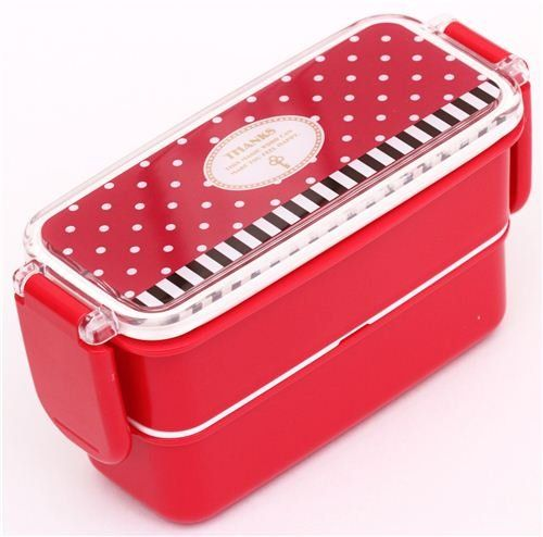 Fiambrera roja caja bento lunares rayas Thanks