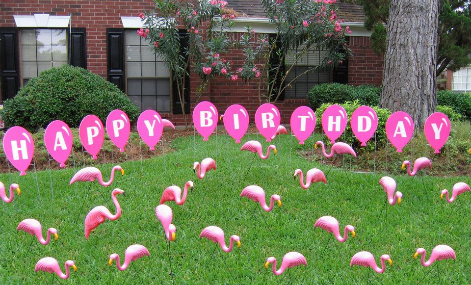 A Flock Of Pink Flamingos With Pink Happy Birthday 640 x 480
