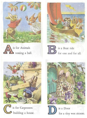 Vintage Animal ABC Alphabet Flash Card Set Free Printable A Z