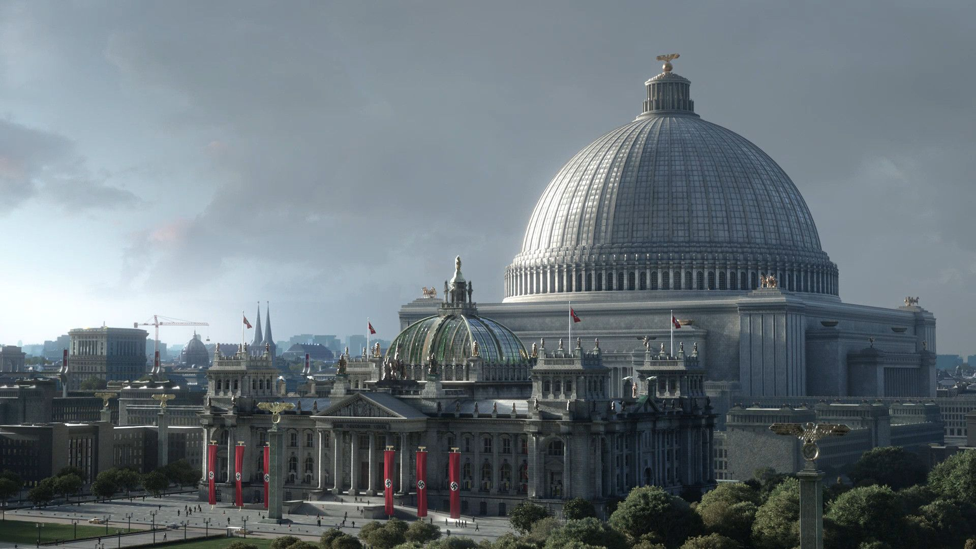 A digital conceptual rendering of the ambitious \u0027Volkshalle ...
